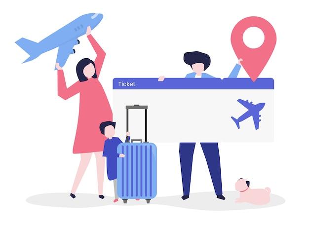 Personagens de pessoas segurando a ilustração de ícones de viagens