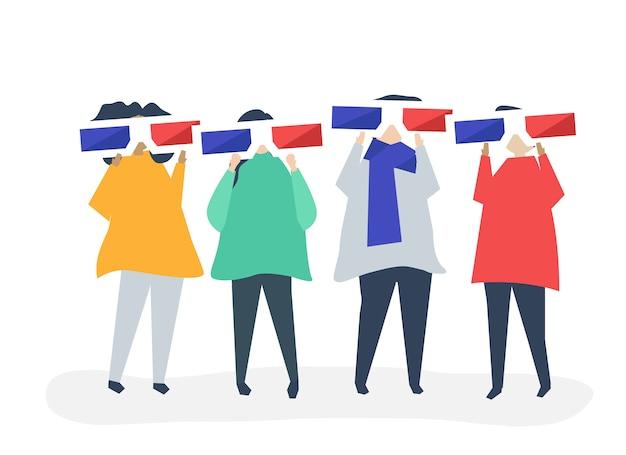 Personagens de pessoas segurando a ilustração de óculos 3d