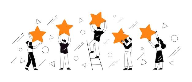 Personagens de pessoas segurando estrelas. conceito de ilustração de conceito de avaliações de clientes