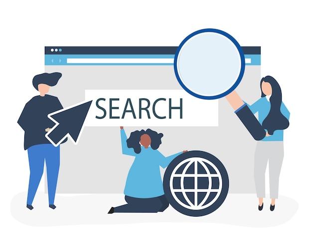Personagens de pessoas segurando ícones de pesquisa na internet