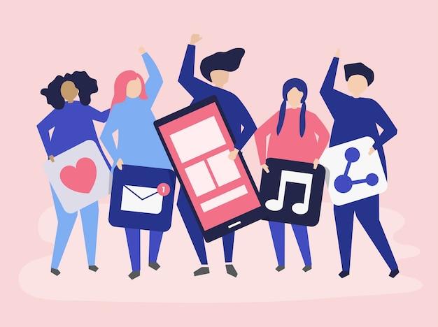 Personagens de pessoas segurando ícones de redes sociais