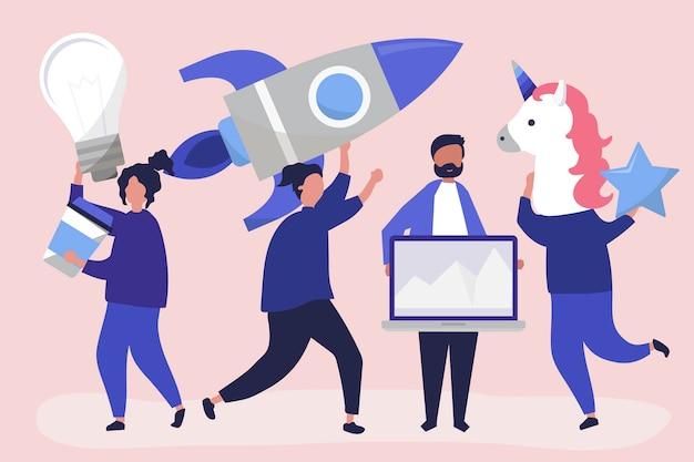 Personagens de pessoas segurando ícones do conceito de negócio criativo