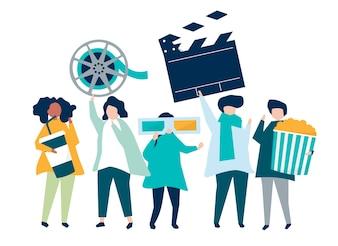 Personagens de pessoas segurando ilustração de ícones do filme