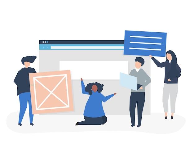 Personagens de pessoas segurando ilustração de ícones do site