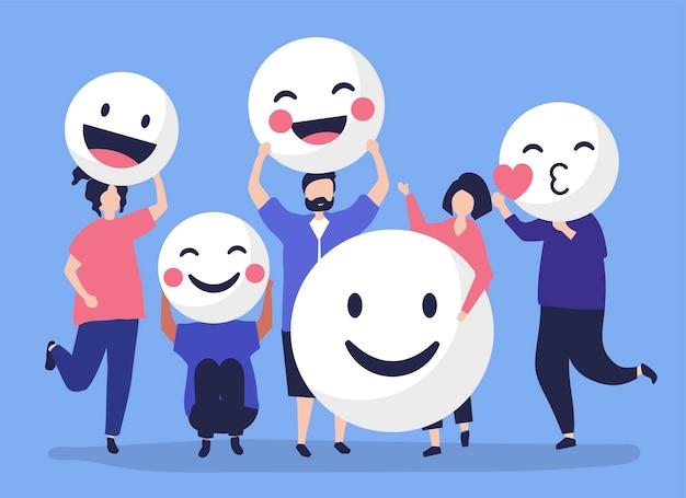 Personagens de pessoas segurando ilustração emoticons positiva