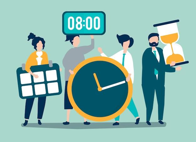 Personagens de pessoas segurando o conceito de gerenciamento de tempo