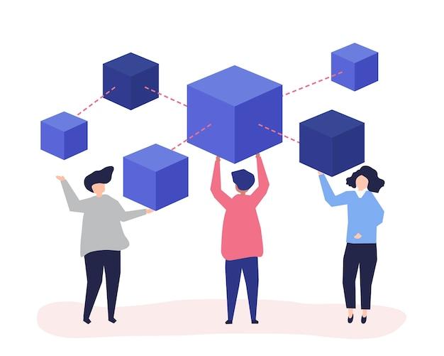Personagens de pessoas segurando uma rede blockchain