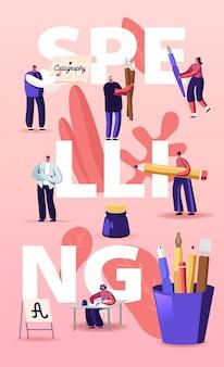 Personagens de pessoas soletrando ilustração