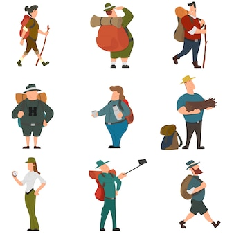 Personagens de pessoas turistas para caminhadas e trekking