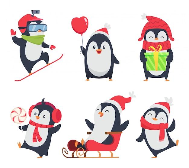 Personagens de pinguim. desenhos animados inverno de animais selvagens em várias ações representam mascote design