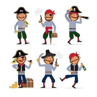 Personagens de pirata dos desenhos animados com pistola e rum e papagaio