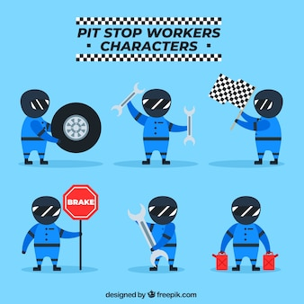 Personagens de pit stop workers