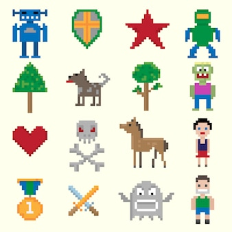 Personagens de pixel de jogos