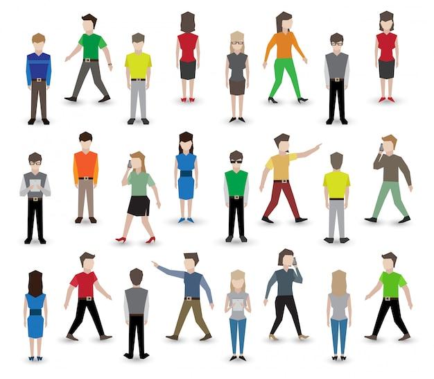 Personagens de pixel de pessoas