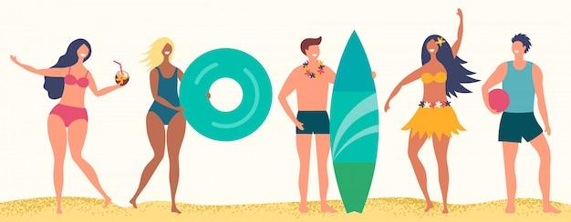 Personagens de praia verão. felizes meninos e meninas na praia de areia