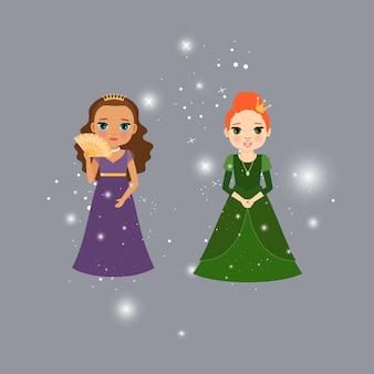 Personagens de princesas lindas com luzes