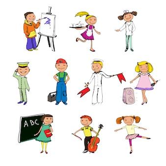 Personagens de profissões de crianças