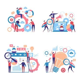 Personagens de promoção. pessoas de negócios anunciam campanhas publicitárias através de imagens de conceito de vetor pas
