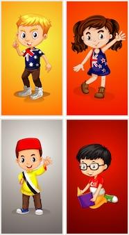 Personagens de quatro crianças