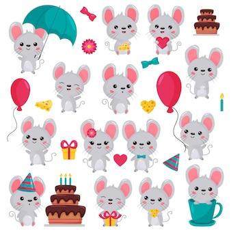 Personagens de rato kawaii dos desenhos animados em diferentes situações