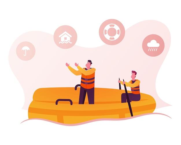 Personagens de resgates masculinos usando colete salva-vidas flutuando no barco inflável com ícones.