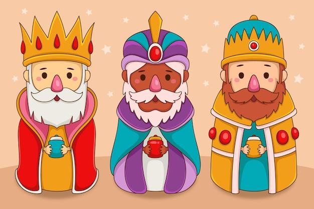 Personagens de reyes magos desenhados à mão