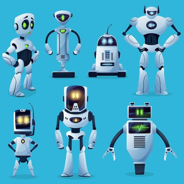 Personagens de robôs, brinquedos de desenho animado e futuros ciborgues
