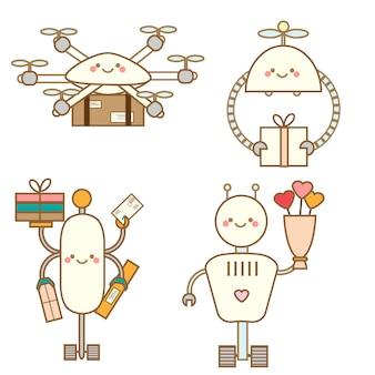 Personagens de robôs fofos