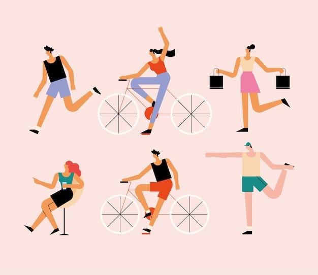 Personagens de seis pessoas para atividades ao ar livre