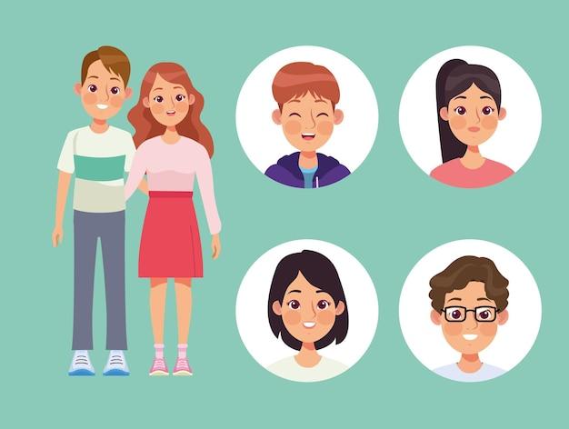 Personagens de seis pessoas