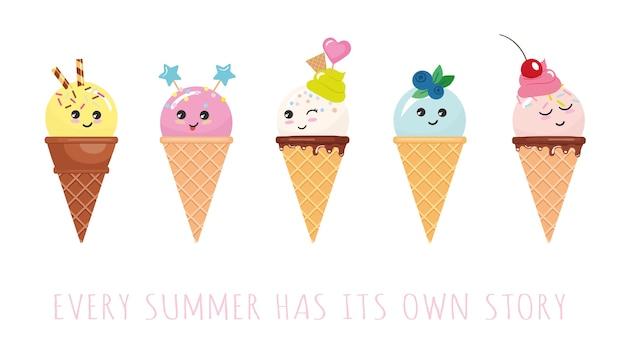 Personagens de sorvete de kawaii