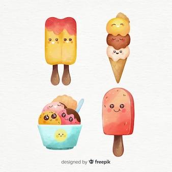Personagens de sorvete kawaii