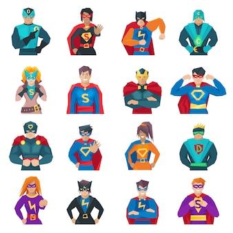 Personagens de super-heróis com homens fortes e mulheres planas isoladas vector illustration
