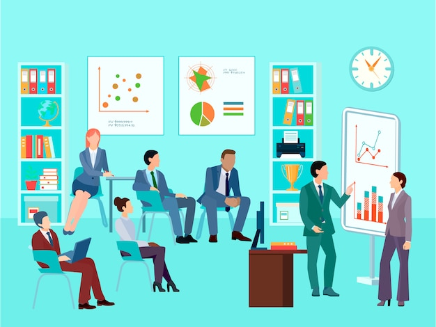 Personagens de trabalhador de negócios de estatísticas de análise reunião composição com sessão de trabalho de equipe