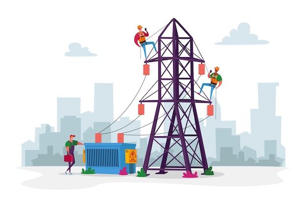 Personagens de trabalhadores eletricistas com ferramentas