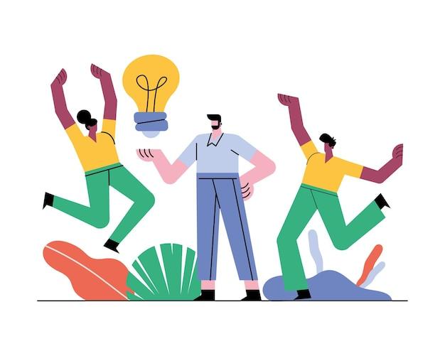 Personagens de trabalhadores em equipe com ilustração de lâmpada externa