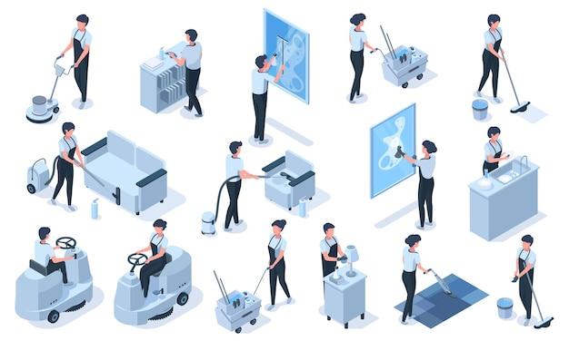 Personagens de trabalhadores profissionais de serviço de limpeza isométrica. vácuo de serviço de limpeza, móveis limpos, conjunto de ilustração vetorial de janelas de lavagem. limpeza profissional de uniformes de funcionários, janela limpa