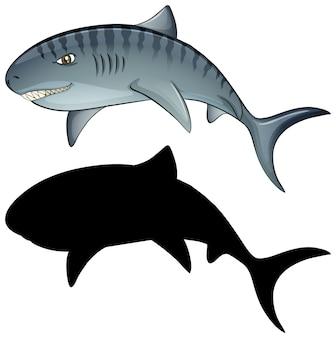 Personagens de tubarões e sua silhueta em branco