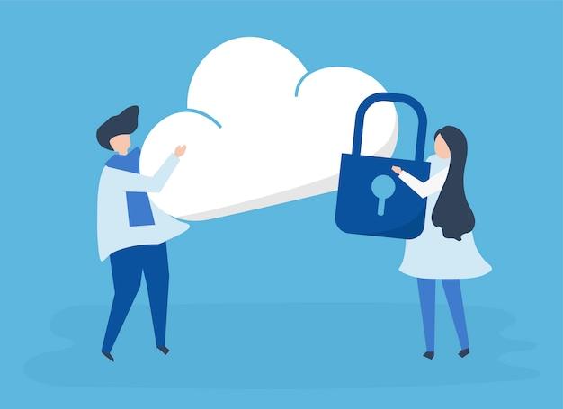 Personagens de um casal e uma ilustração de segurança de nuvem