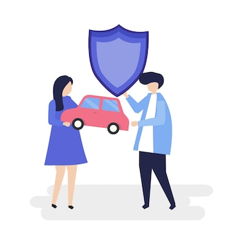 Personagens de um casal segurando uma ilustração de carro e escudo