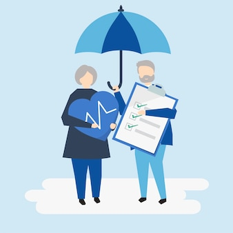 Personagens de um casal sênior e ilustração do seguro de saúde