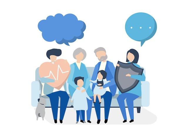Personagens de uma família extensa com cuidados de saúde