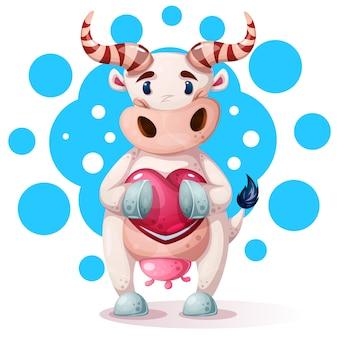 Personagens de vaca bonito, engraçado, bonito com coração.