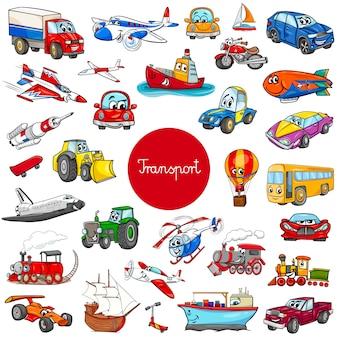Personagens de veículo de transporte de desenhos animados grande conjunto