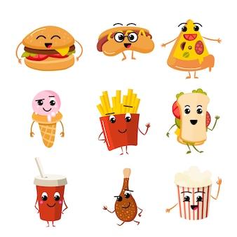 Personagens de vetor de fast food engraçado
