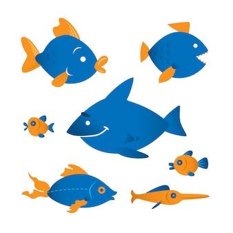 Personagens de vetor de peixe engraçado. projeto de coleção de vetores de vida marinha. coleção tropical colorida dos peixes do recife de corais isolada no fundo branco.