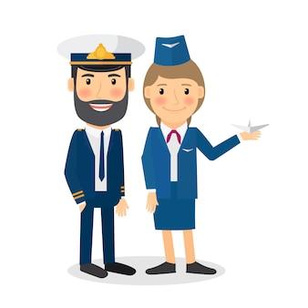 Personagens de vetor de piloto e aeromoça