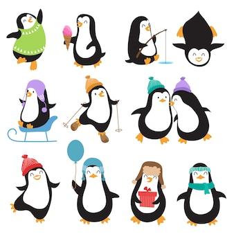 Personagens de vetor de pinguins de natal engraçado
