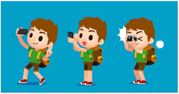 Personagens de viajantes, tirando fotos com diferentes dispositivos