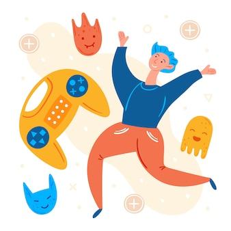 Personagens de videogame. jogador de homem pulando com joystick. humor positivo. conjunto desenhado mão plana, clip-art.